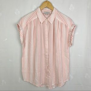 Lucky Brand Pale Pink Stripe Short Sleeve Shirt
